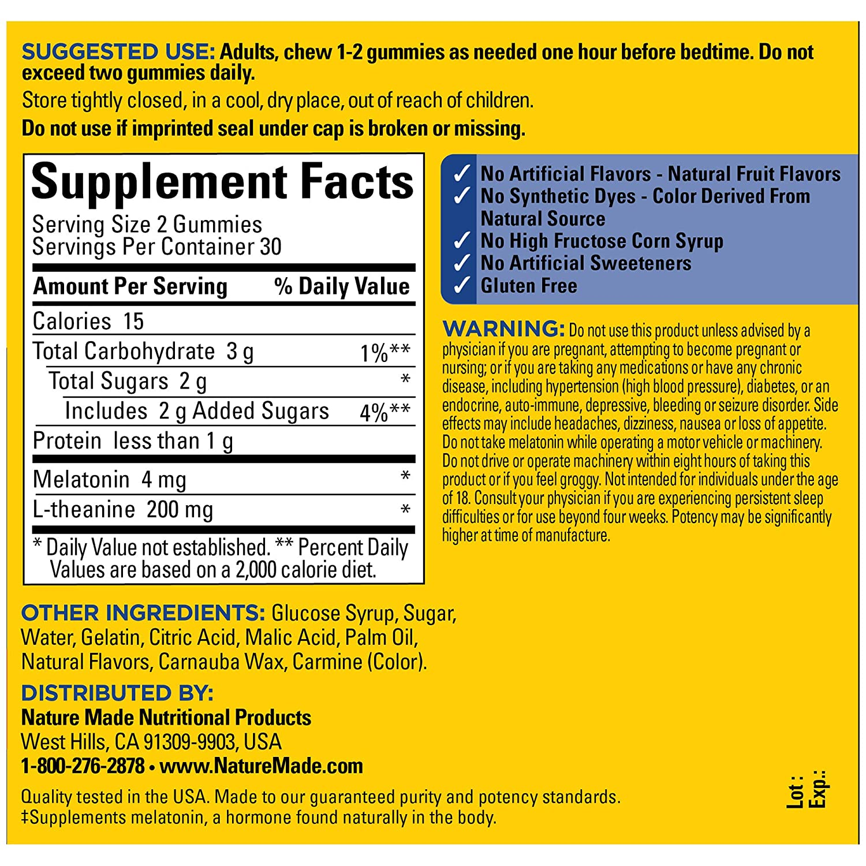 Nature Made Good Sleep Gummy: 4 mg Melatonin & 200 mg L-Theanine 60 Ct