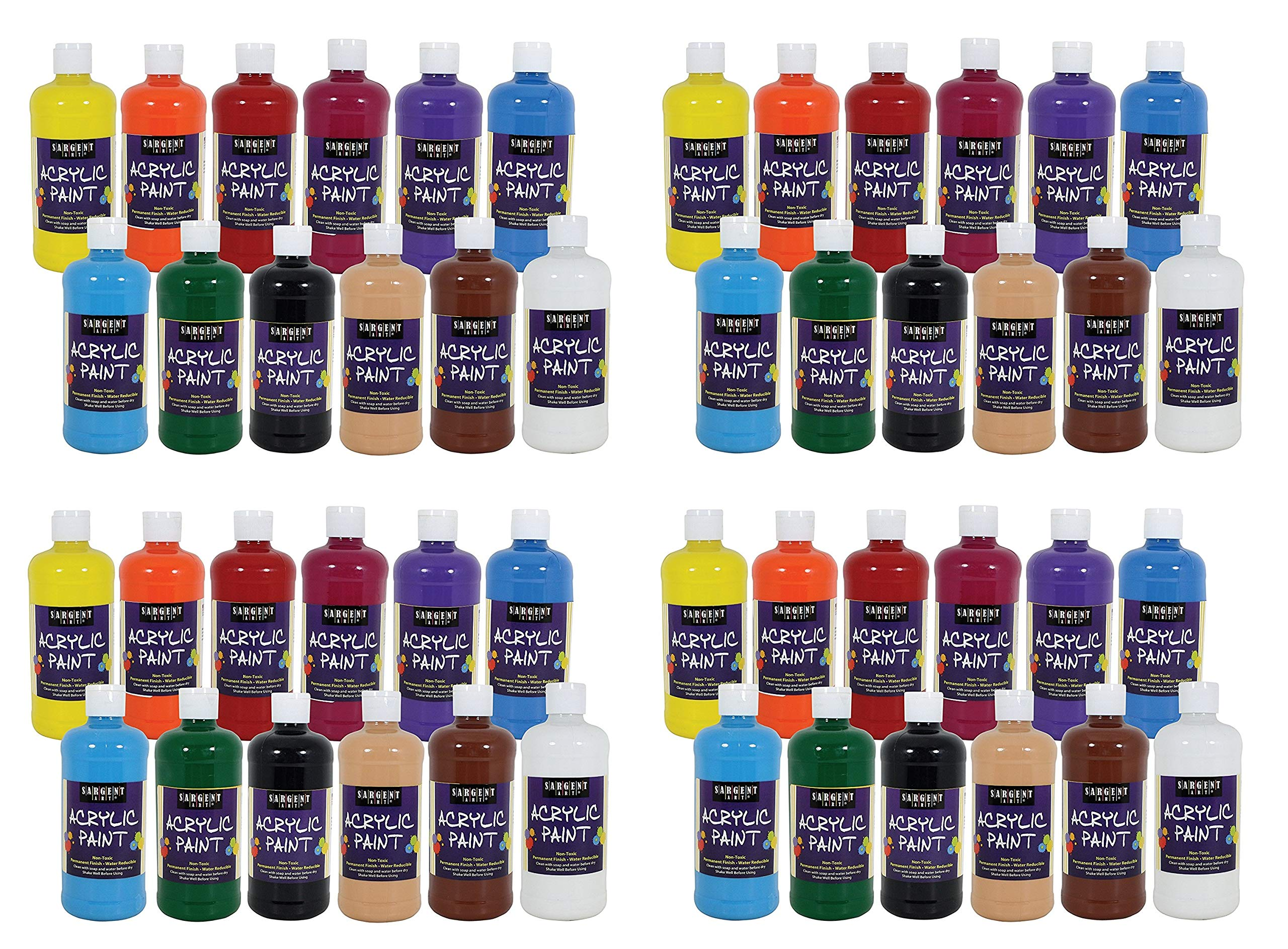 Sargent Art 24-2498 Artist Quality Acrylic Paint Set, 12 Different Colors, (4 X Pack of 12)
