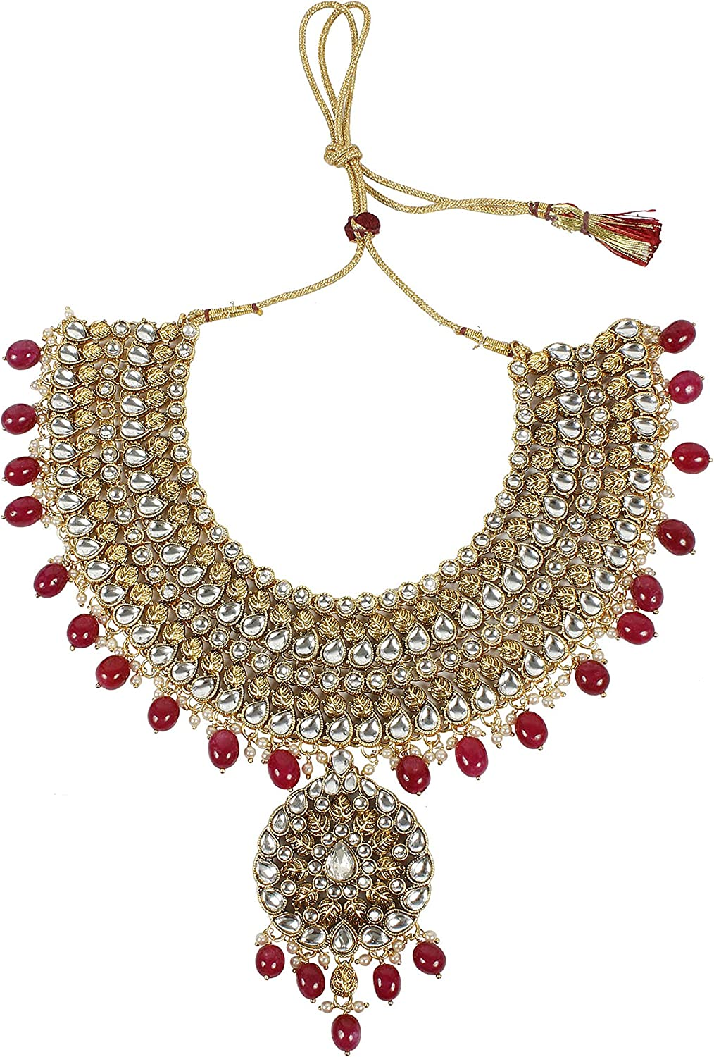 5170 Ruby MUCH-MORE Traditional Indian Style Unique Polki Indian Necklace Earrings Bridal Set Jewelry