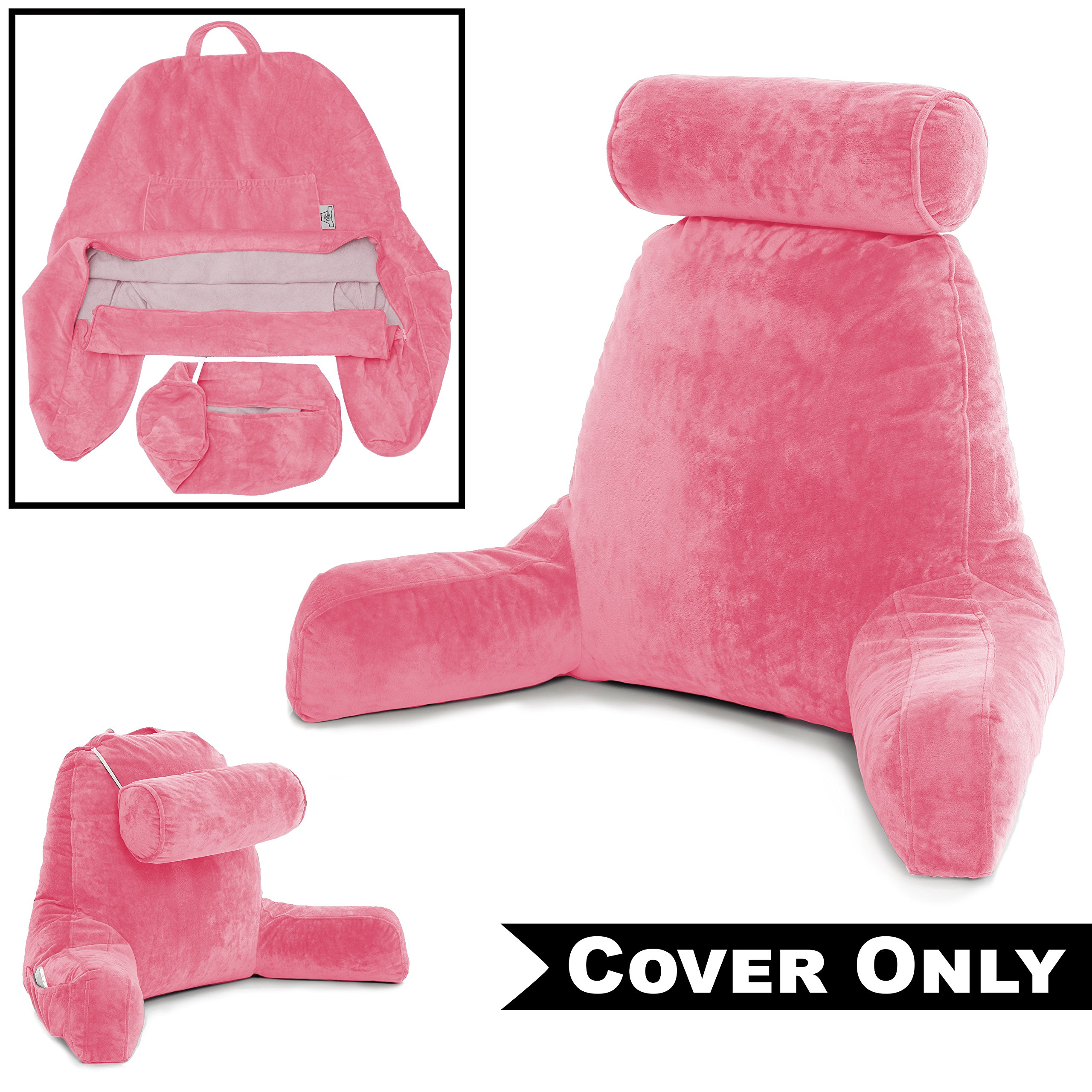 Husband Pillow Pink COVER ONLY - For the Bedrest Cover Set - Support Bed Backrest Covers, Micro Plush Cover Including Detachable Neck Roll Pillow Cover