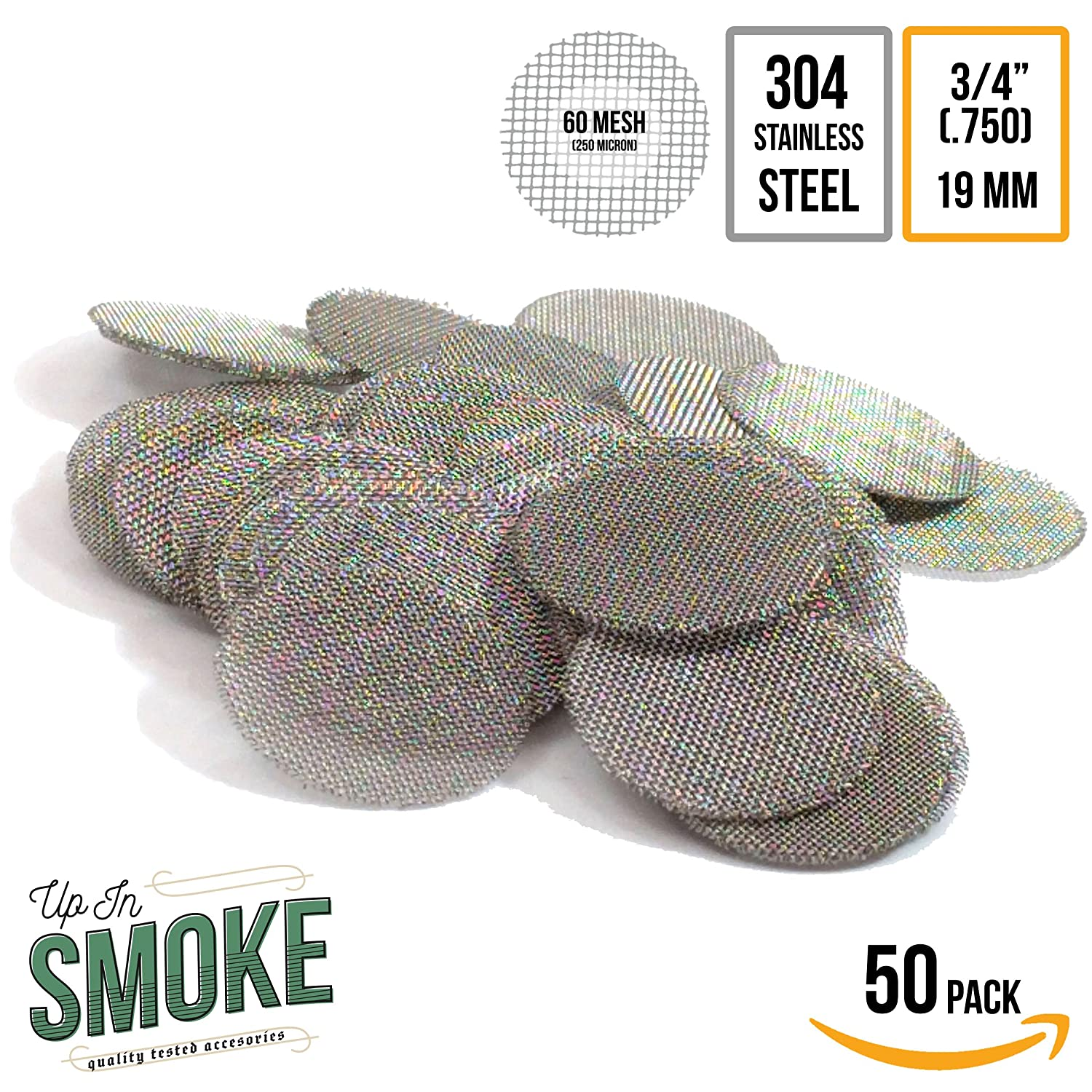 3/4 Made in the USA 304 Stainless Steel Pipe Filters by Up in Smoke Pipe Screens - 50 Pack No Model