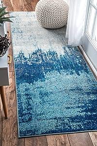 "nuLOOM Alayna Abstract Runner Rug, 2' 8"" x 8', Blue"