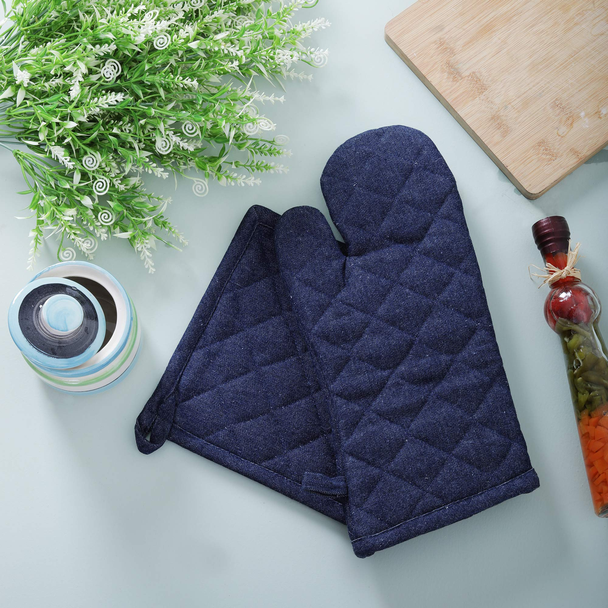 Denim Oven Mitt & Pot Holder Set, Pack of 2, 100% Cotton, Denim Blue, Advanced Heat Resistant Oven Mitt, Non-Slip Textured Grip Pot Holders