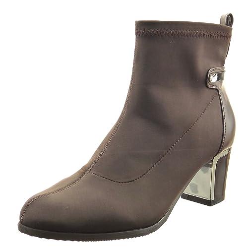 Sopily - Zapatillas de Moda Botines flexible bimaterial A medio muslo mujer metálico Talón Tacón ancho alto 6 CM - Marrón FRF-8-H155 T 41: Amazon.es: ...