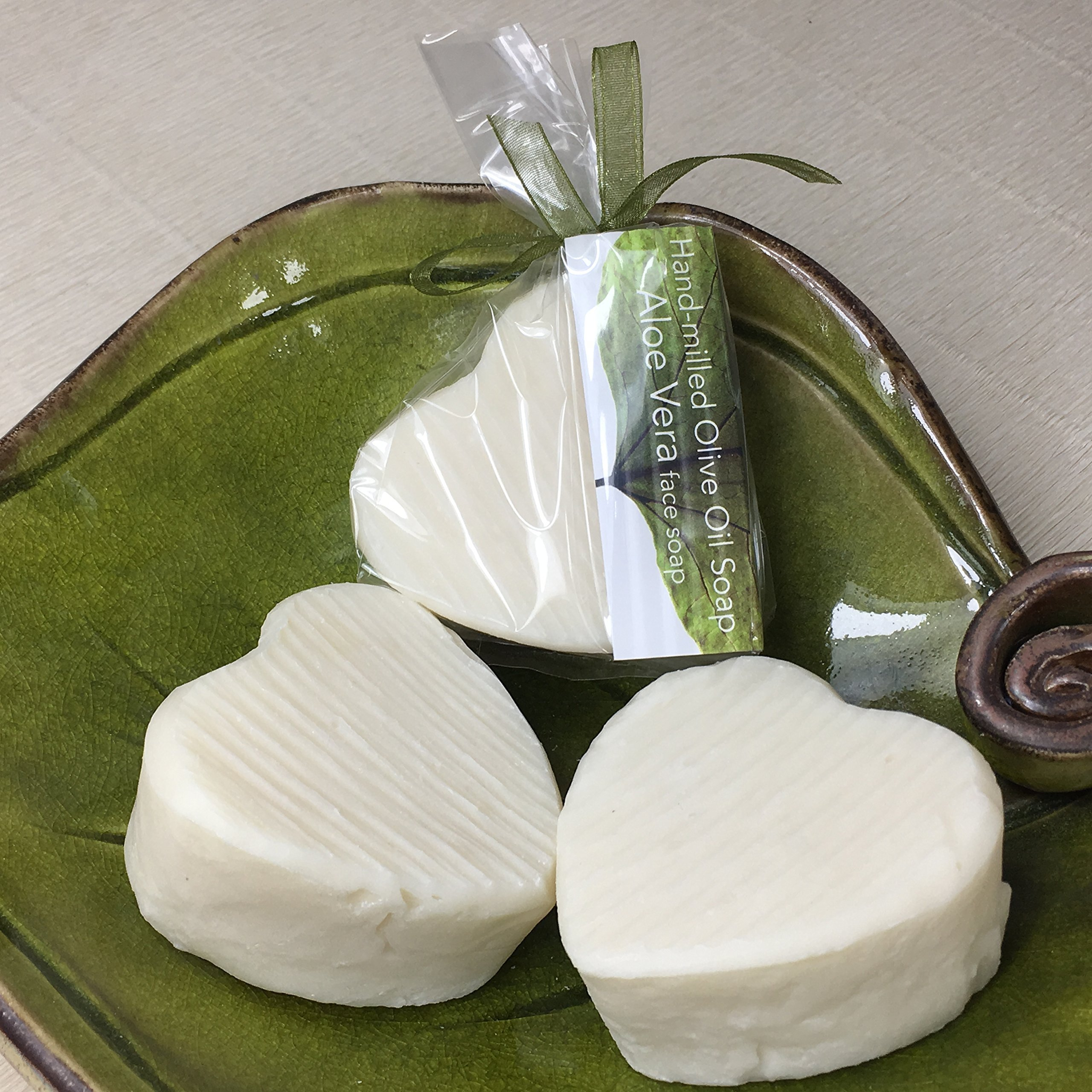 JANECKA Aloe Vera Heart Soap / Hand-milled Bath Bars / Gentle Unscented ( Set of 3 )