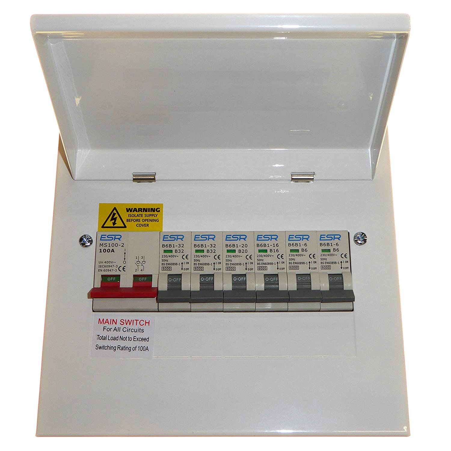 Garage Consumer Unit Metal Clad 4 Way Fuse Box Fitted With Rcd 63amp On 30ma 1x6amp
