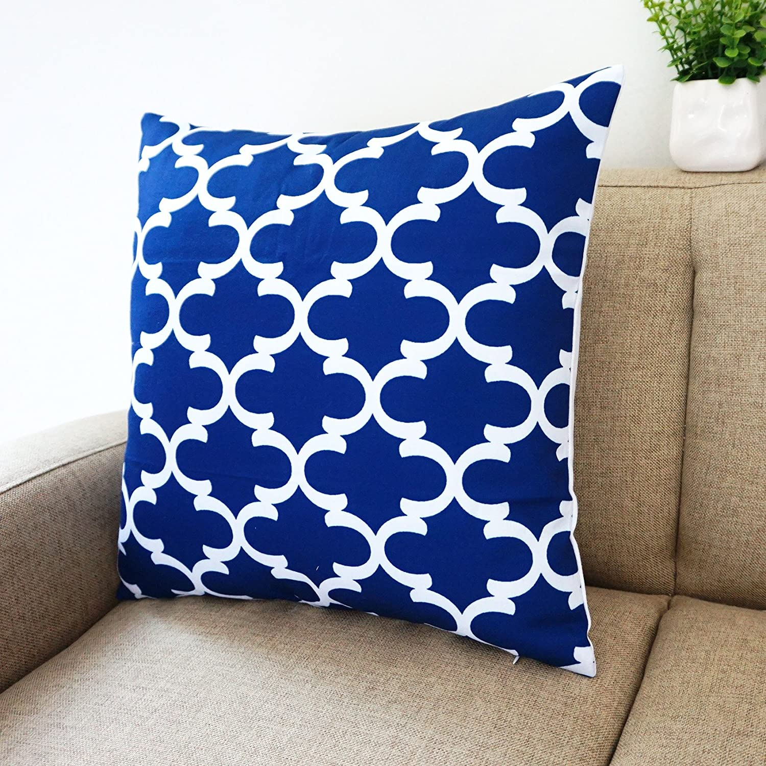 Amazon.com: Blue and White Howarmer® Square Cotton Canvas ...