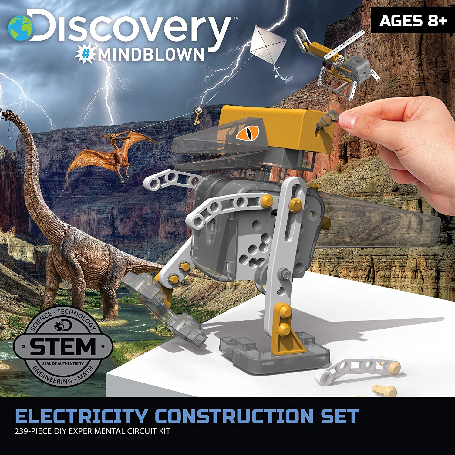 Girls 239 Total Pieces Discovery #MINDBLOWN Electricity Construction Set Kids STEM Learning for Boys and Teens 10 Robotic Build Kits /& 7 Electronic Circuit Experiments