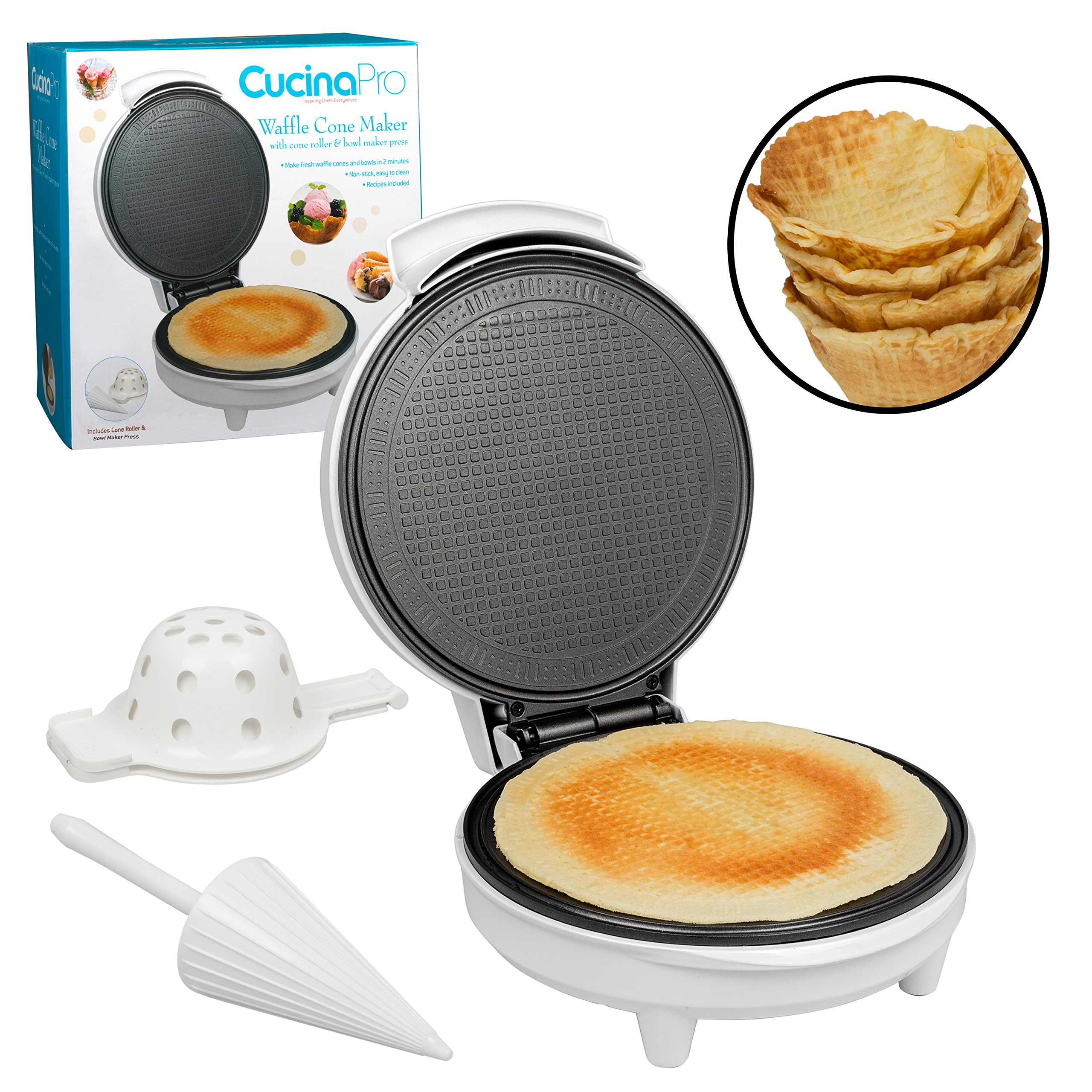 Waffle Cone and Bowl Maker- Includes Shaper Roller and Bowl Press- Homemade Ice Cream Cone Iron Machine by CucinaPro