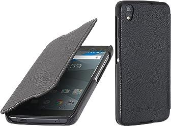 StilGut Book Type sans Clip, Housse Blackberry DTEK50 en Cuir. Etui de Protection à Ouverture latérale, en Noir