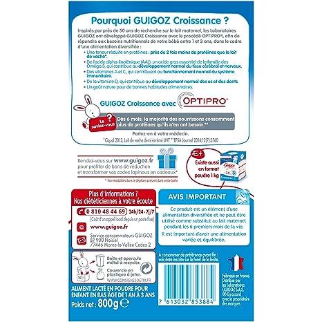 Amazon.com : GUIGOZ Croissance 3 - Lait 3ème âge en poudre - de 1 à 3 ans - 800g - Lot de 3 boîtes de 800g : Grocery & Gourmet Food