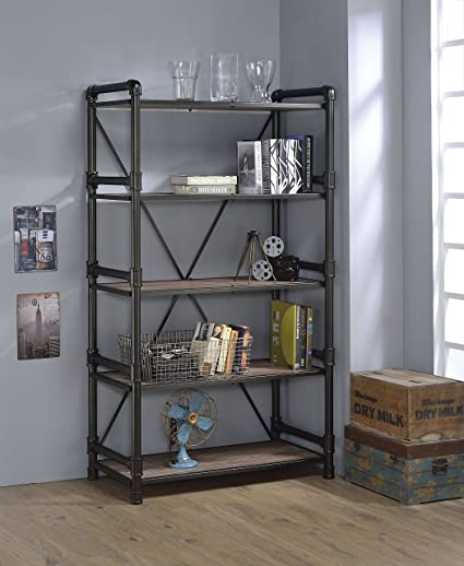 ACME Furniture Caitlin 92220 Bookshelf Rustic Oak Black