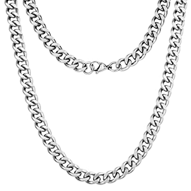 0646a891710 Silvadore - 9mm Curb Necklace Chain - Silver Stainless Steel Jewellery -  18'' to