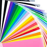 "BRIGHT IDEA Heat Transfer Vinyl HTV Bundle 12""x10""- 23 Pack of Assorted Colors and Glow in the Dark Iron On T-Shirt Vinyl Transfer Sheets - Best HTV Vinyl for Silhouette Cameo, Cricut, Heat Press"