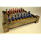 """Medieval Times Crusades Warrior Red & Blue Chess Set Hand Painted w/ 17 1/2"""" Castle Board"""