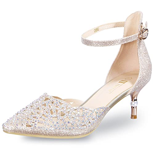 62a5e2610c3 IDIFU Women's IN2 Candice Rhinestones Sequins Mid Heels Stiletto Kitten  Heels Wedding Pump Bridal Shoes