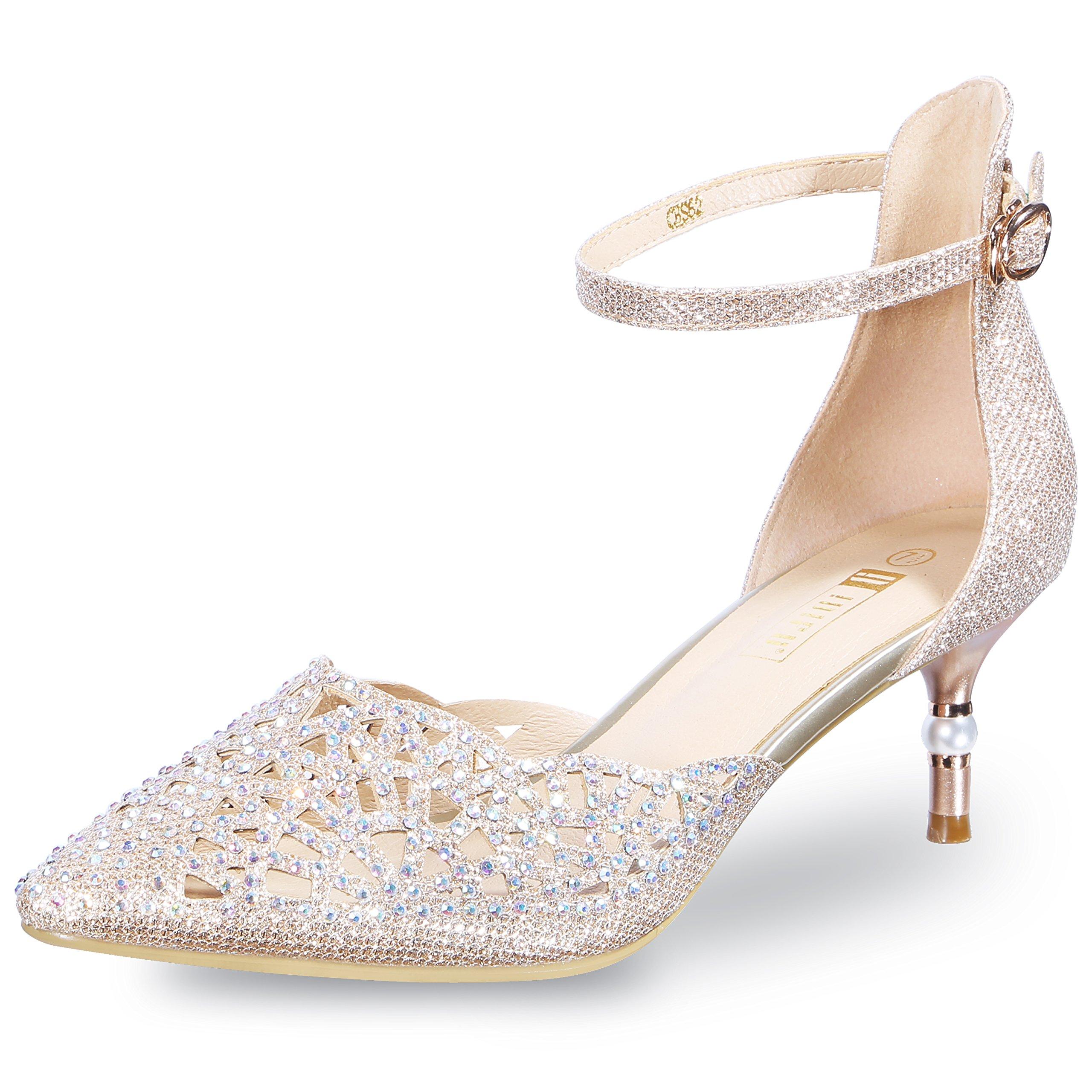 IDIFU Women's IN2 Candice Rhinestones Sequins Mid Heels Stiletto Wedding Pump Gold 9 B(M) US