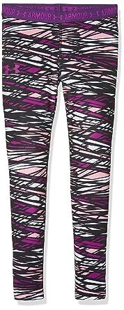 4c3ee535b97543 Under Armour Kids Girl's HeatGear Armour Printed Leggings (Big Kids) Purple  Rave/Indulge