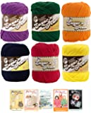 Lily Sugar n' Cream Solid Color Variety Assortment 6 Pack Bundle 100% Cotton Medium 4 Worsted with 5 Patterns (Multi 2)