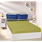 Amazon Brand - Solimo Ditsy Dale 144 TC 100% Cotton Double Bedsheet with 2 Pillow Covers, Yellow