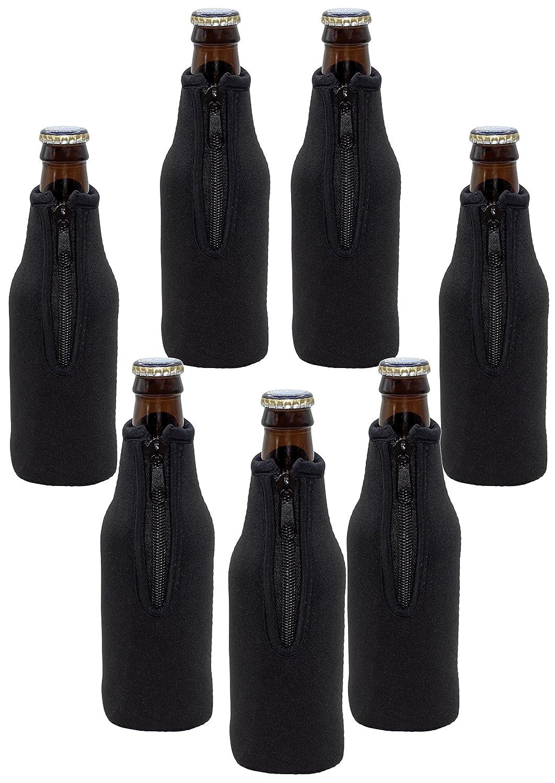 Neoprene Bottle Sleeves   Pack of 7 Black Plain Beer Bottle Cooler Covers Fit 12 oz Bottles by Impirilux (7, Black)