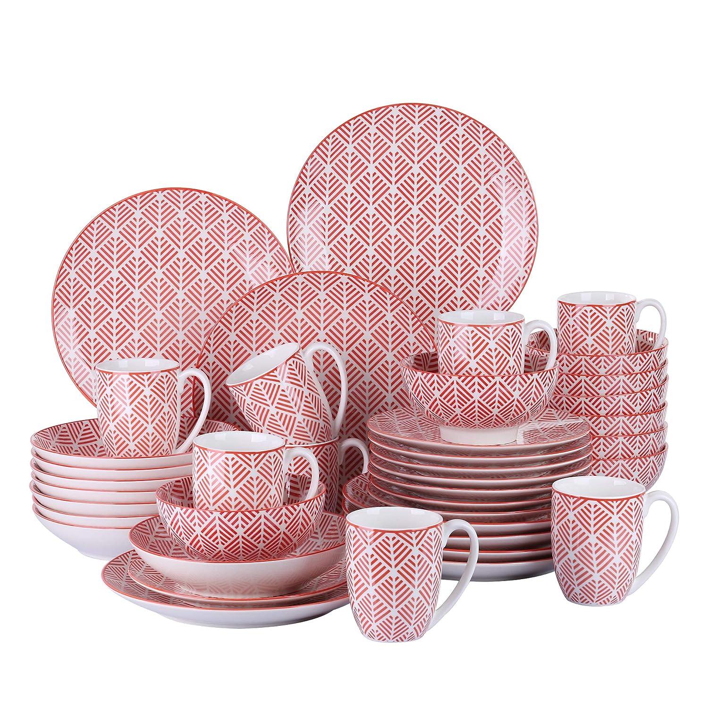 vancasso Momoko Vajillas de Porcelana 40 Piezas 8 Platos de Cena, Postre, Platos de Sopa Cuencos de Cereales, Tazas, para 8 Personas