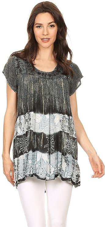 Sakkas S-4-85100 - Layleka Long Tie Dye Ombre Batik Bordados Lentejuelas Blusa Camisa Blusa Top - Negro - SO: Amazon.es: Ropa y accesorios