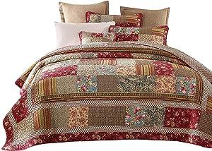 Tache Home Fashion DXJ103443-S 3 Piece Tea Party Quilt Set, Twin