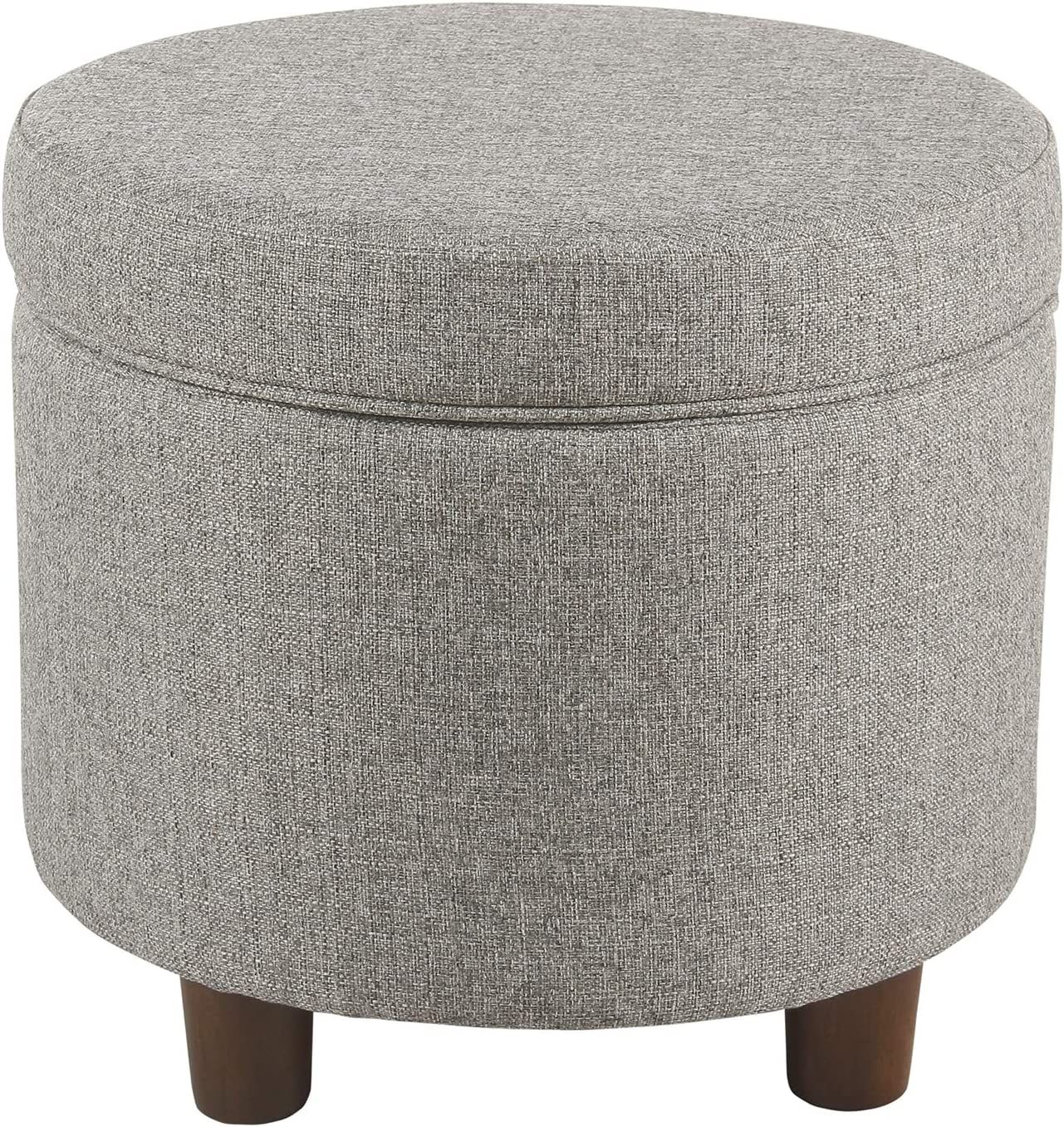 HomePop Round Tweed Storage Ottoman, Light Gray Tweed