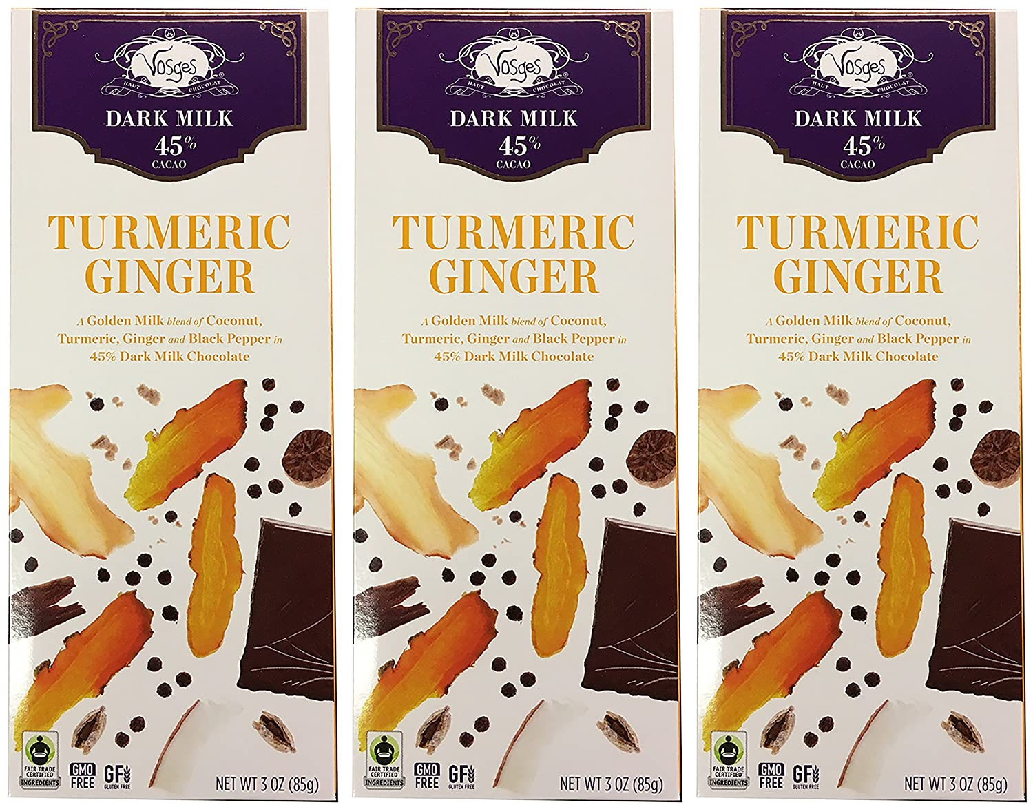 Amazon.com : Vosges Dark Milk Turmeric Ginger Chocolate Bar Pack ...