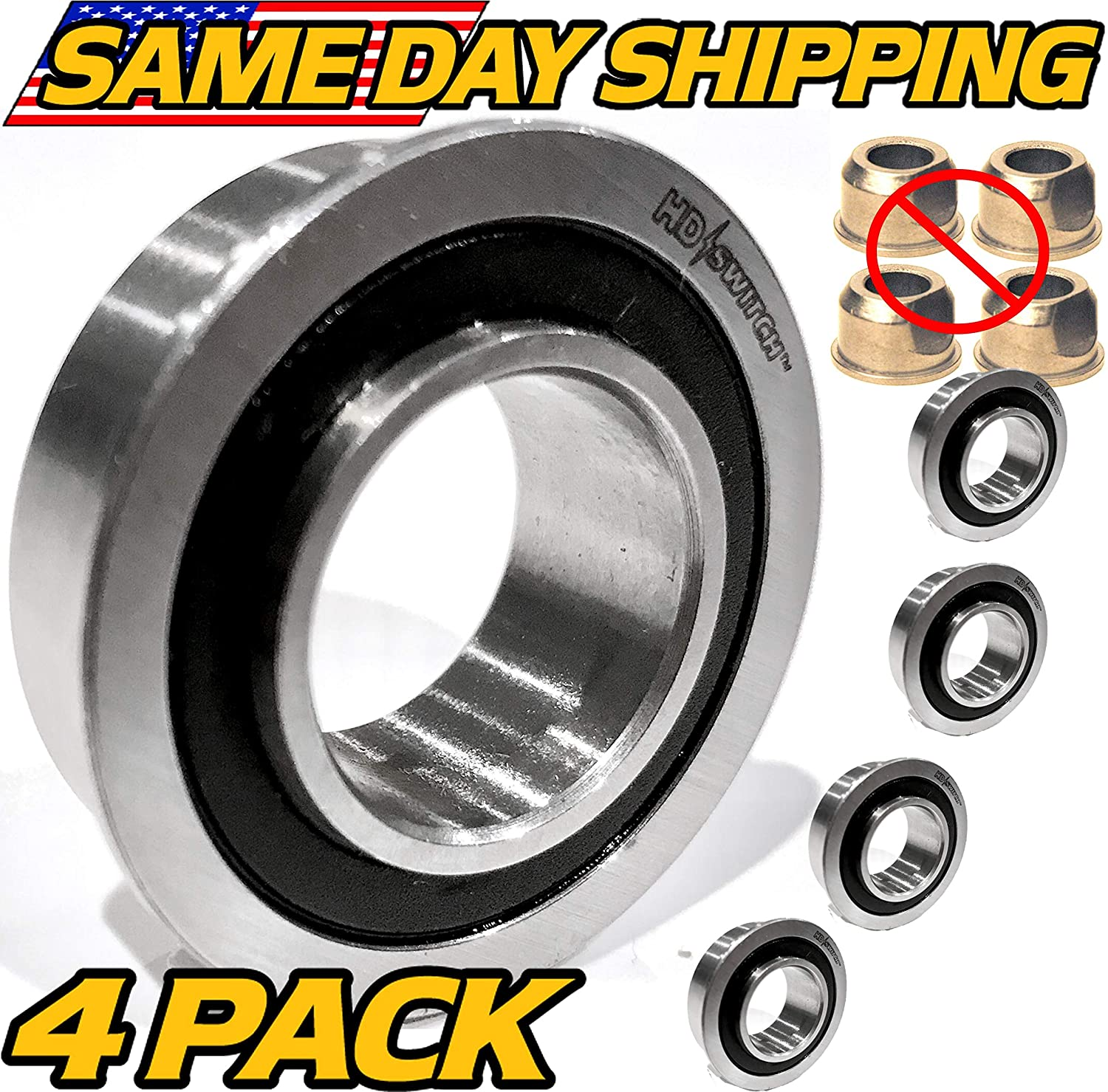 (4 Pack) Craftsman, Sears, AYP, Husqvarna 9040H Front Wheel Bushing to Bearing Conversion Kit OEM Upgrade - HD Switch