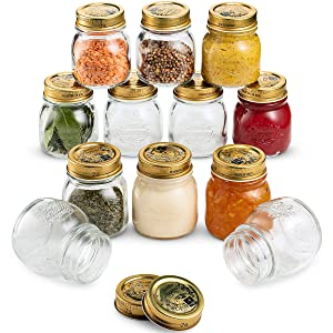 Bormioli Rocco Quattro Stagioni Small Glass Mason Jars 5 Ounce Mini Jars (12-Pack) with Metal Airtight Lid, For Jam, Jelly, baby food, Crafts, Spices, Dry Food Storage, Wedding favors, Decorating Jar