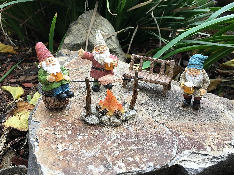 Set de 5 piezas de Gnomos de Jard/ín para Jardines de Hadas en Miniatura Gnomos Felices Cerveceros