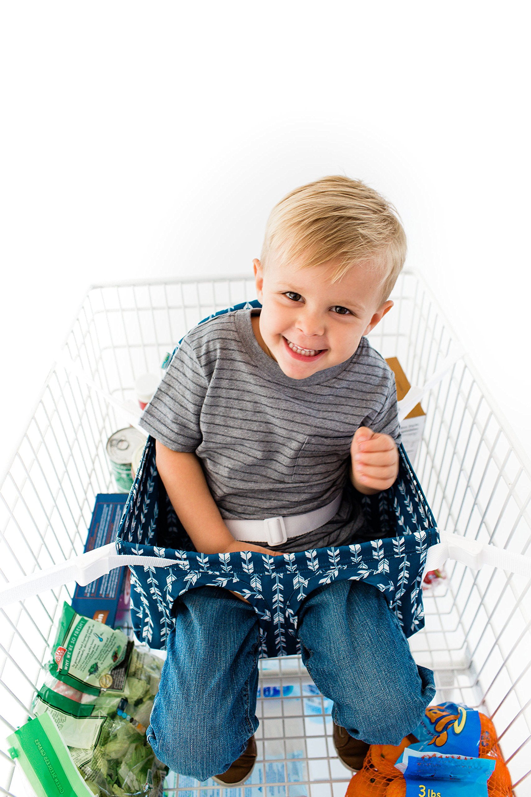 Buggy Bench The Original Shopping Cart Seat (Navy Blue) for Baby, Toddler, Twins, and Triplets (Up to 40 Pounds)