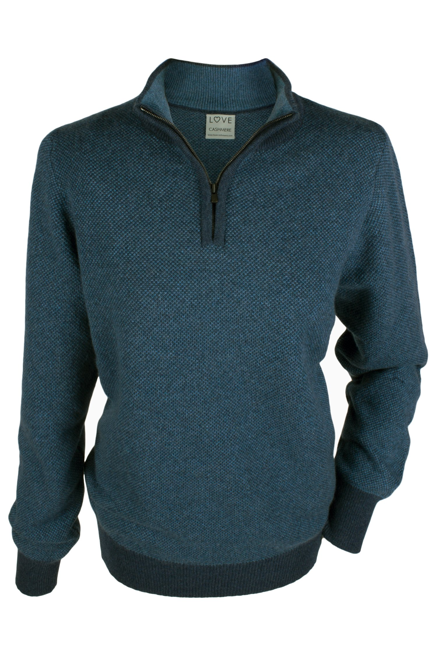 Ladies 100% Cashmere Zip Neck Oversize Sweater - Denim Blue Mix - made in Scotland by Love Cashmere by Love Cashmere (Image #1)