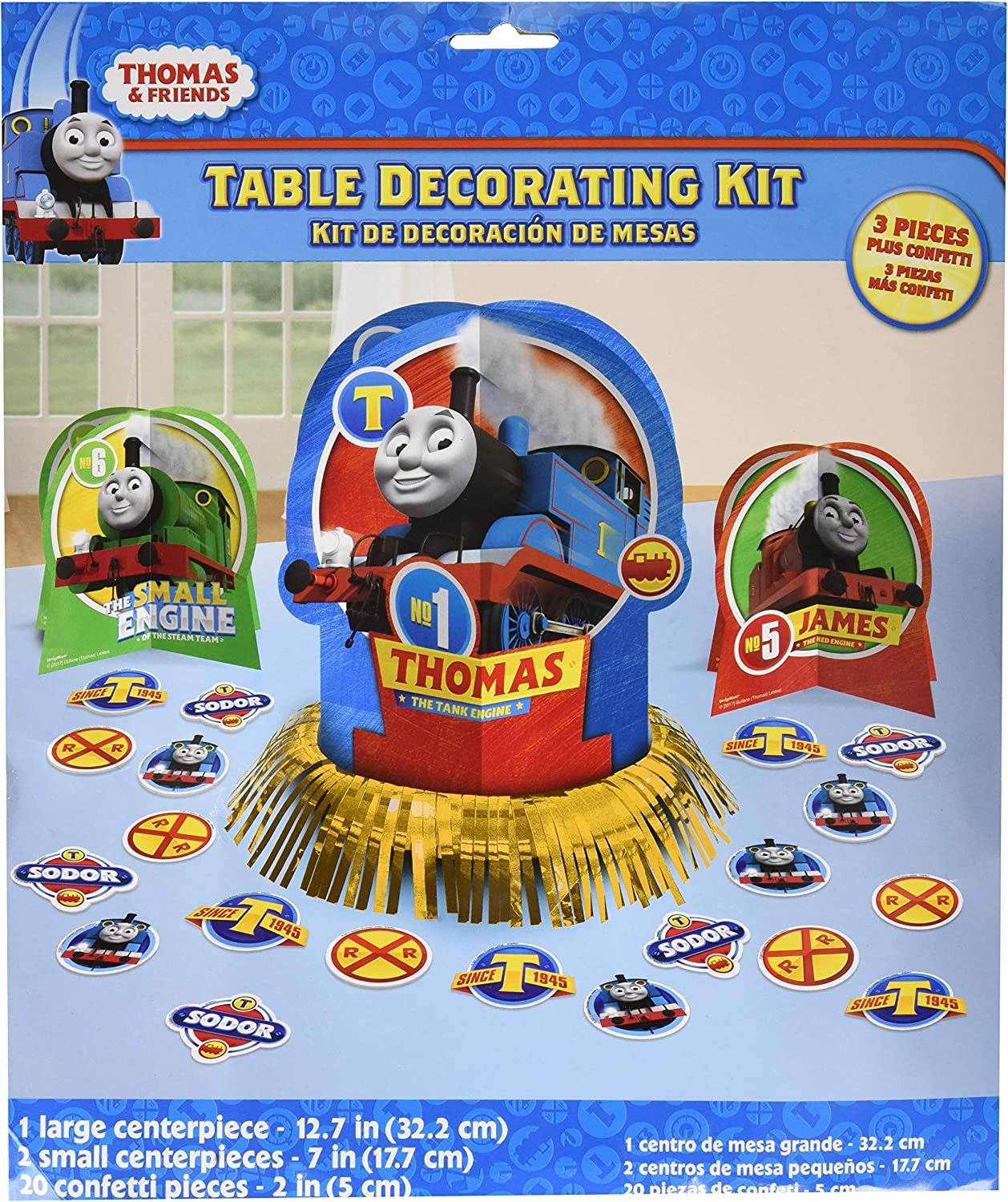 amscan Thomas The Tank Engine Centerpiece Table Decorating Kit 23 Count Birthday Party, Multicolor, One Size (281752)