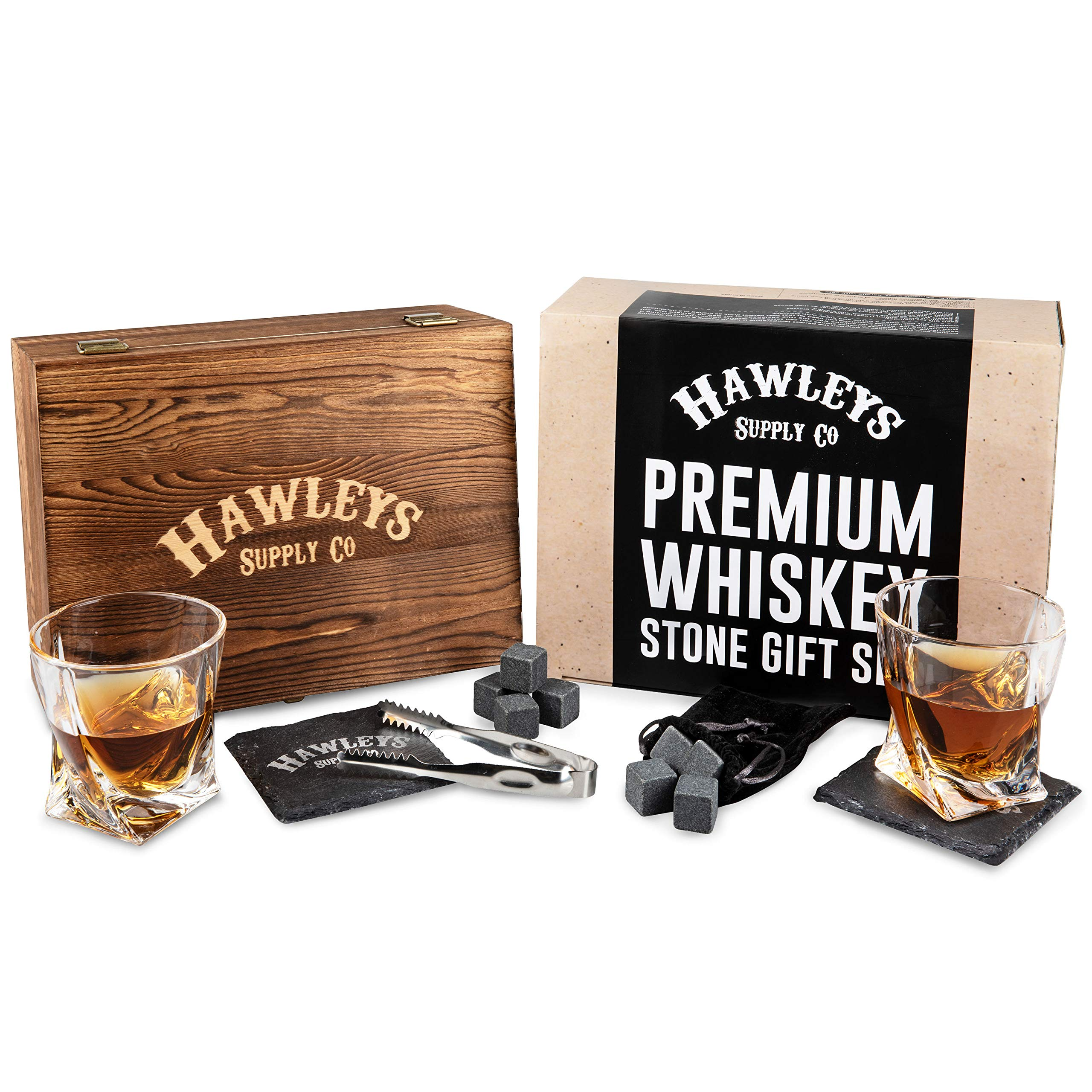Whiskey Stones Glass Gift Set - For Scotch, Whisky, Bourbon, or Your Tasting Liquor/Alcohol. Perfect Gifts for Men. Wooden Box, 2 Large Crystal Drinking Glasses, 8 Granite Stone Ice Rocks