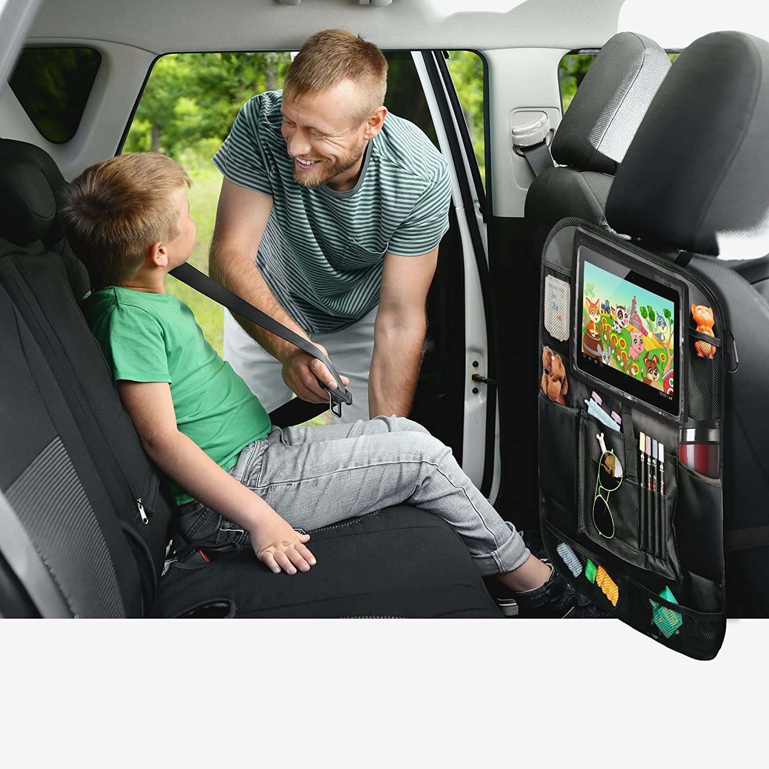 Tablet Holder Car Back Seat Organizer Essential Car Accessories for Road Trip by KiddyB Kick Mat Protector with Multipurpose Storage Pockets