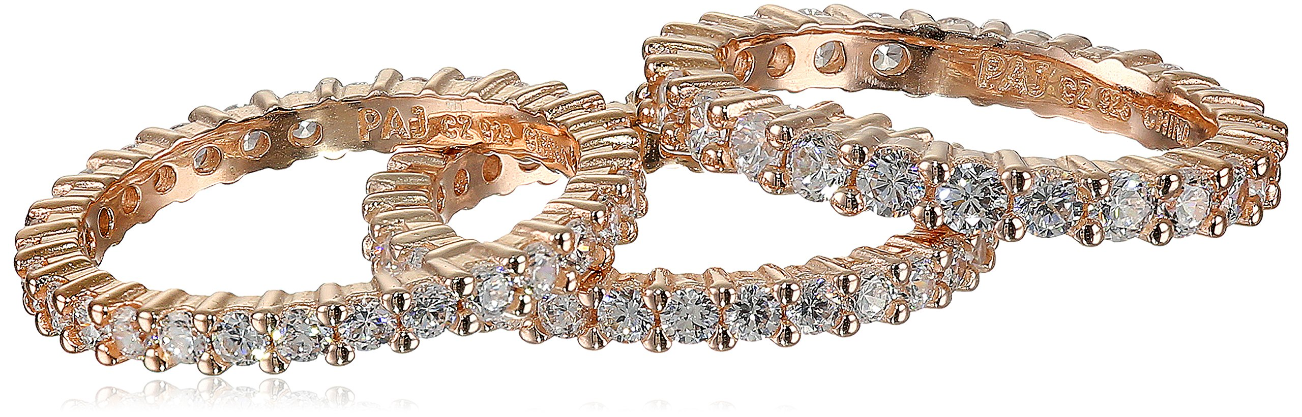 Three Rose Gold Plated Sterling Silver Cubic Zirconia All-Around Bands Stackable Ring, Size 7