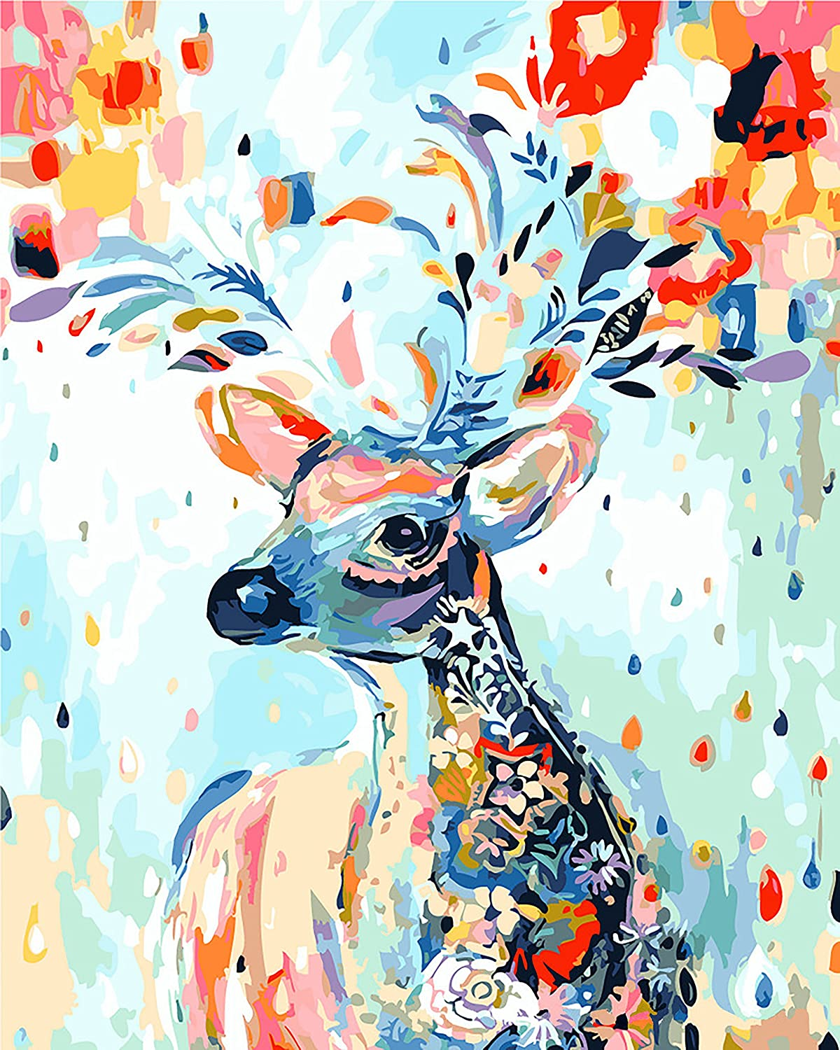 40X50CM N//O Paint by Number Kits Lamb eating flowers Diy Digital Oil Canvas Painting for Adults and Kids Home Wall Art Decor Kit with Brushes and Acrylic Pigment no frame