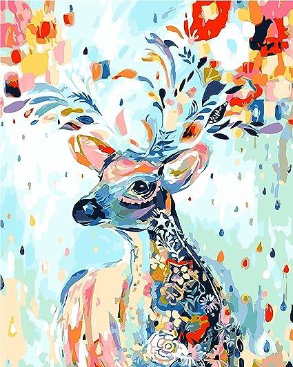 Diy Digital Leinwand ölgemälde Geschenk Für Erwachsene Kinder Malen Nach Zahlen Kits Home Haus Dekor Flowerdeer 4050 Cm