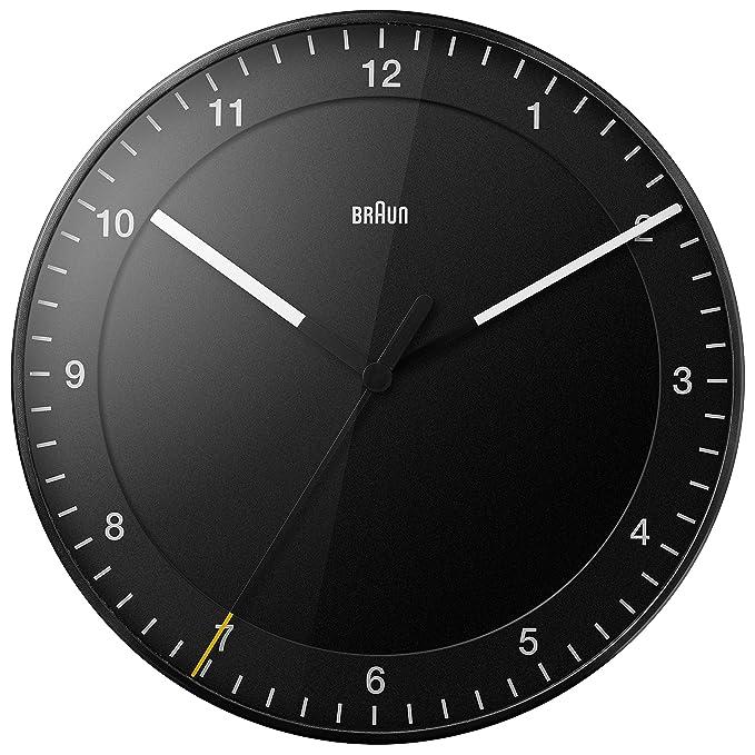 Reloj de pared analógico negro Braun, minimalista