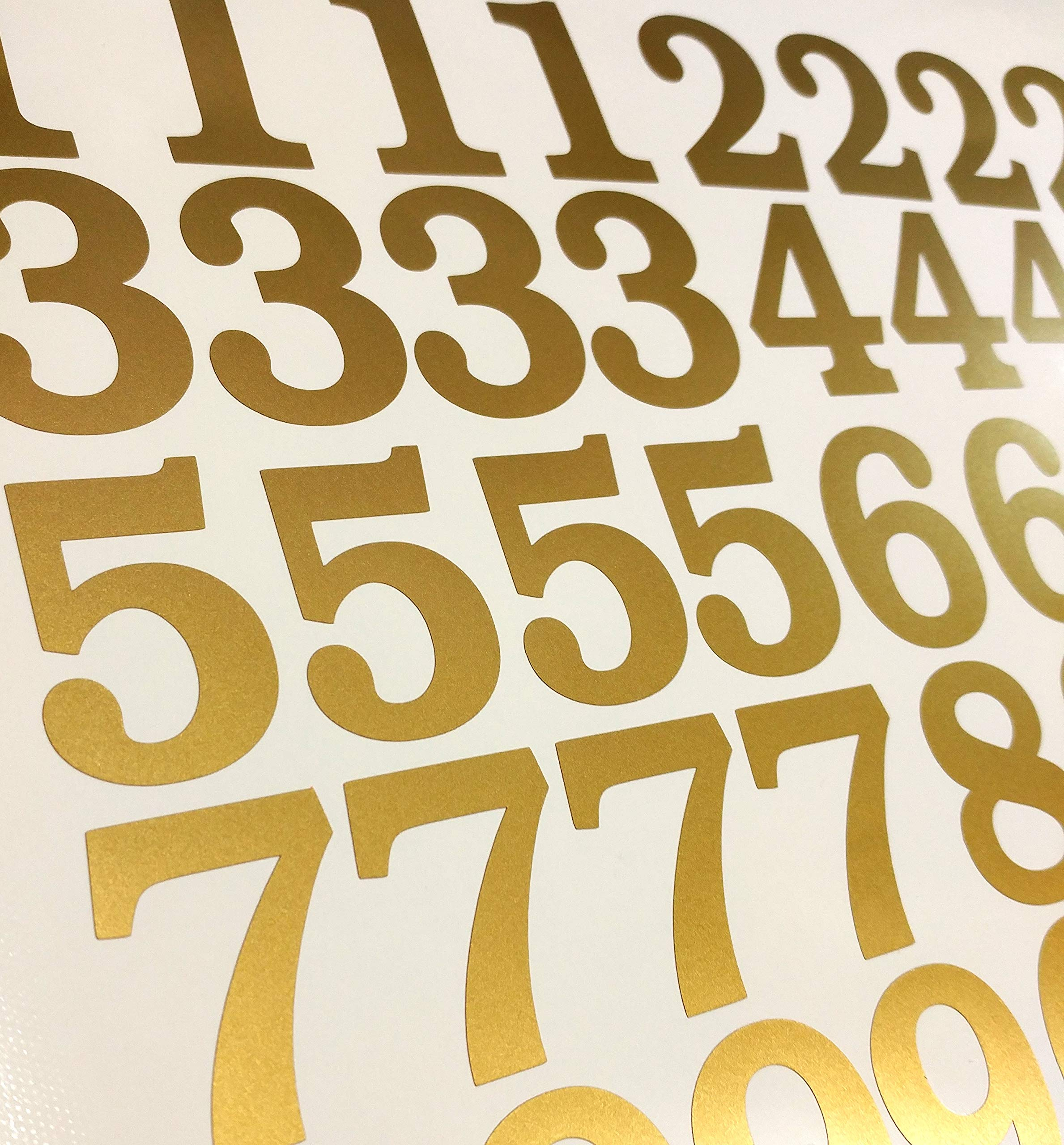 2'' Metallic Gold Color, Classic Style Mailbox Numbers,Lot of 40 (4 of each number form 0 to 9) 2 inch tall, Vinyl Mailbox Numbers,Doors,Tool Box,Locker,Car,Truck,Address Decal Stickers (Bookman Bold)