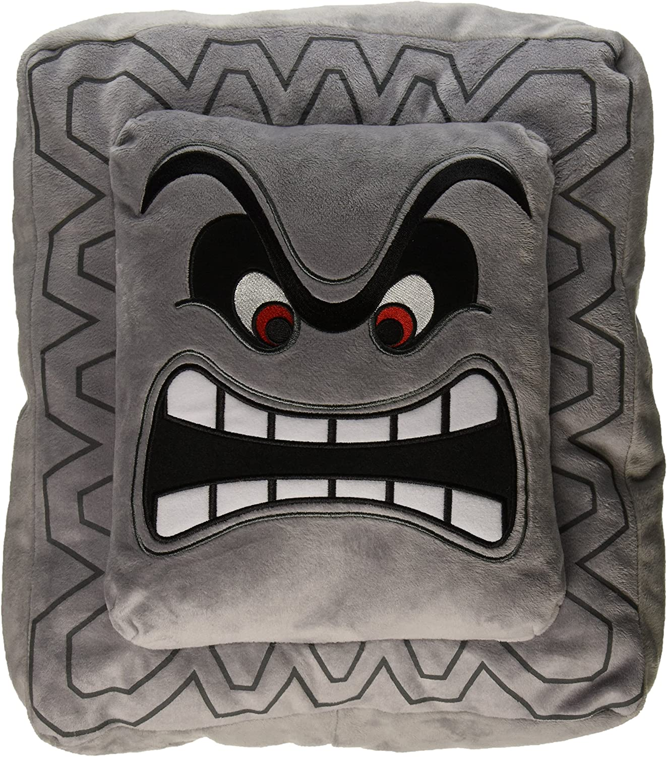 Nintendo Official Super Mario Thwomp Cushion/Pillow Plush, 12""