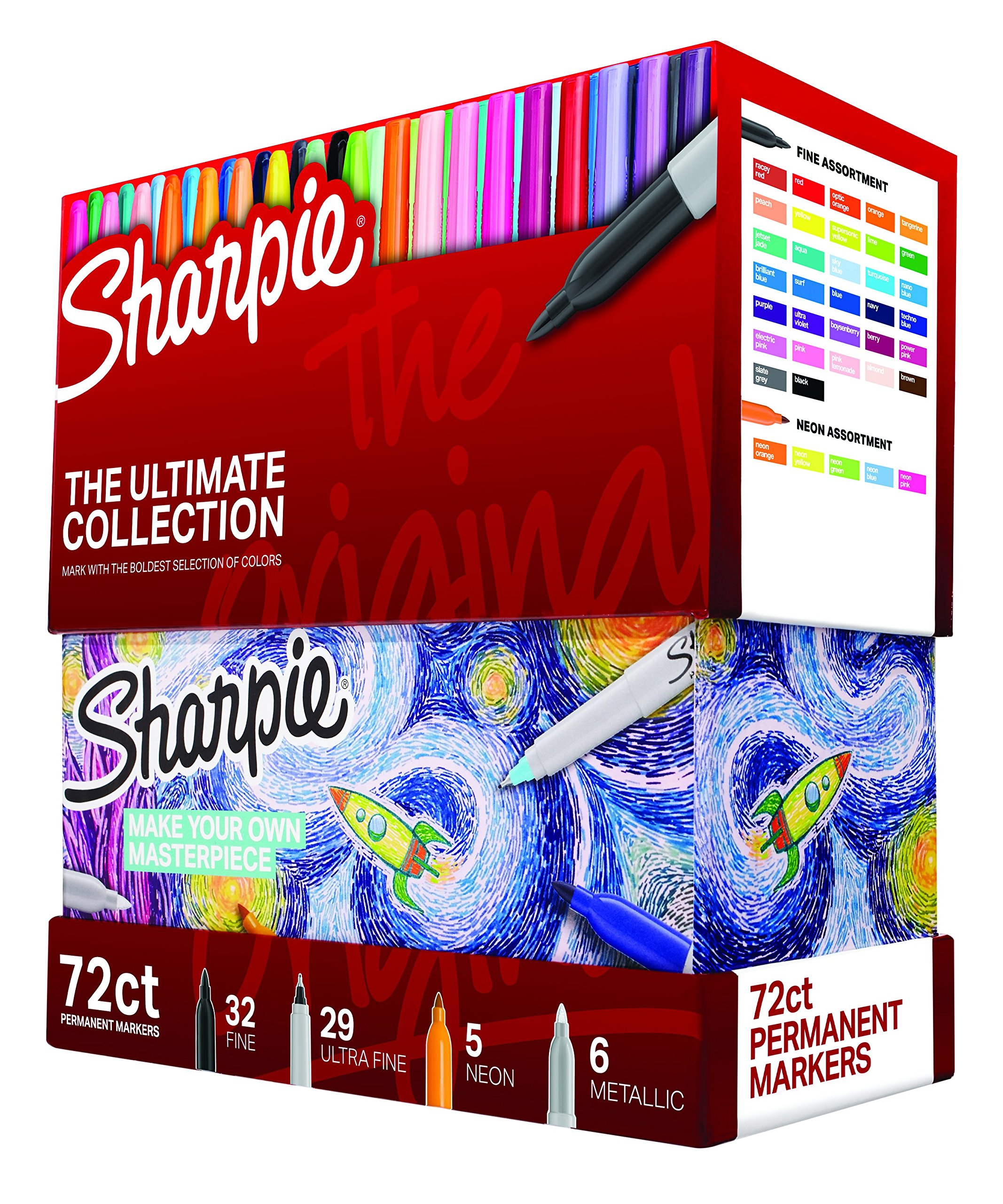 Sharpie Permanent Markers Ultimate Collection, Fine and Ultra Fine Points, Assorted Colors, 72 Count by SHARPIE