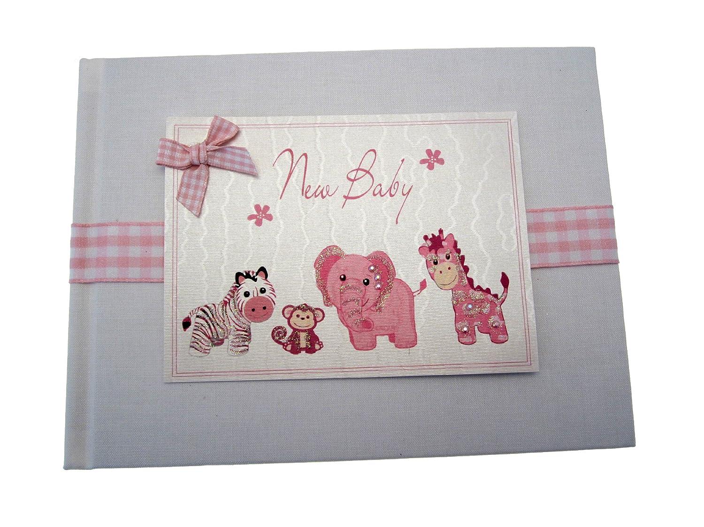 White Cotton Cards - Álbum de fotos de bebé (tamaño pequeño), color rosa BTP1S