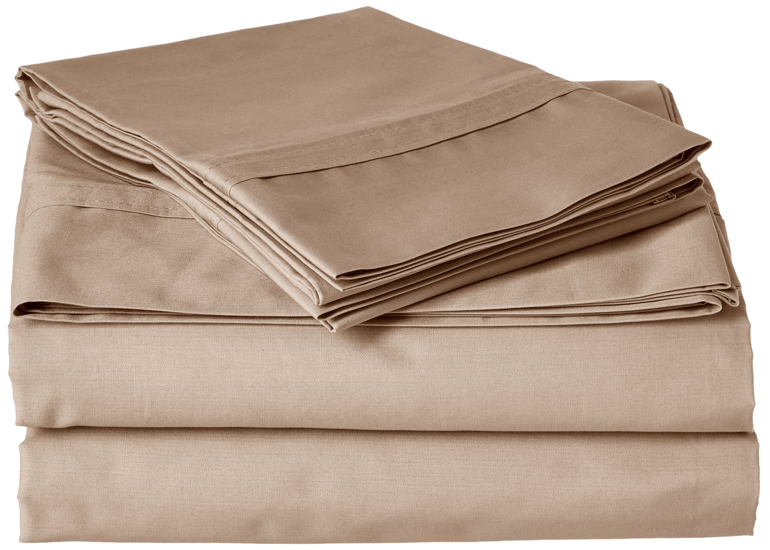 Tribeca Living Egyptian Cotton Percale 300 Thread Count Deep Pocket Sheet Set, King, Coffee