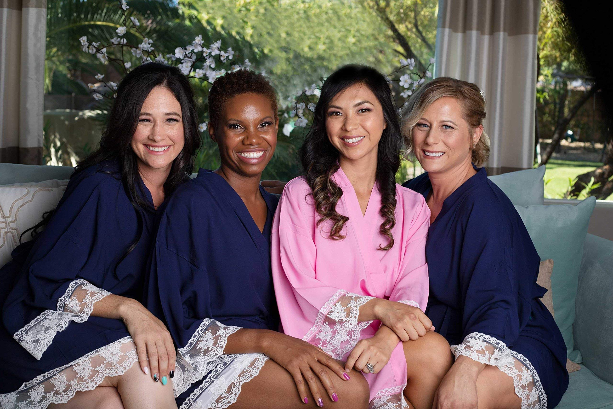Navy Blue Cotton Bridesmaid Robes With White Lace Trim