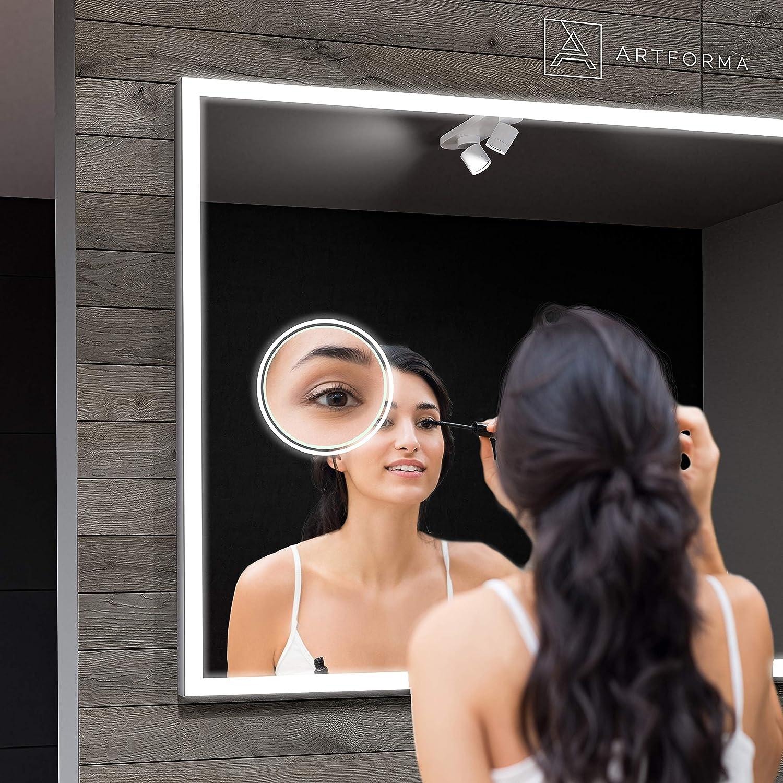 Lumi/ère Illumination Personalizer sur Mesure Lumineux Miroir avec /Éclairage int/égr/é L01 Couverture Artforma Miroir de Salle de Bain LED 50x50 avec /éclairage