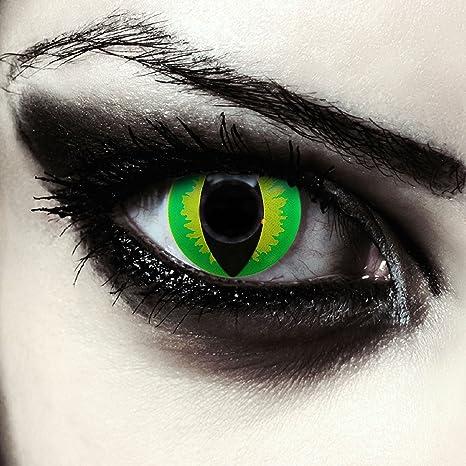 25d0b0264c Lentillas de colores verde para Halloween costume ojo de gato / dragón  lentes verdes sin dioprtías